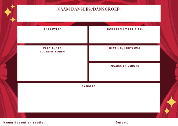 Een werkblad om informatie overeen choreografie simpel vast te leggen.
