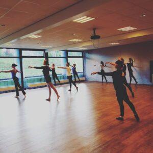 Volwassen ballet dansers in de klassieke balletles.